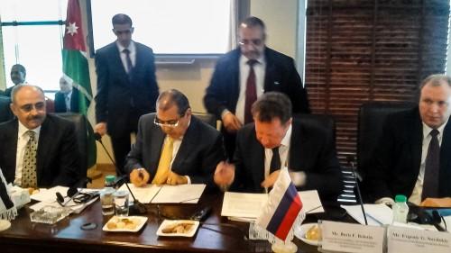 Председатель ТП Иордании, председатель Иорданской части РИДС Наиль Аль-Кабарити, председатель Российской части РИДС Е.Г. Новицкий
